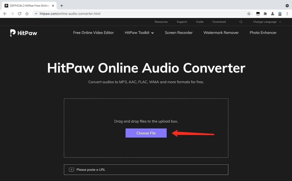 HitPawOnlineAudioConverter MP3轉檔教學 - 上載檔案