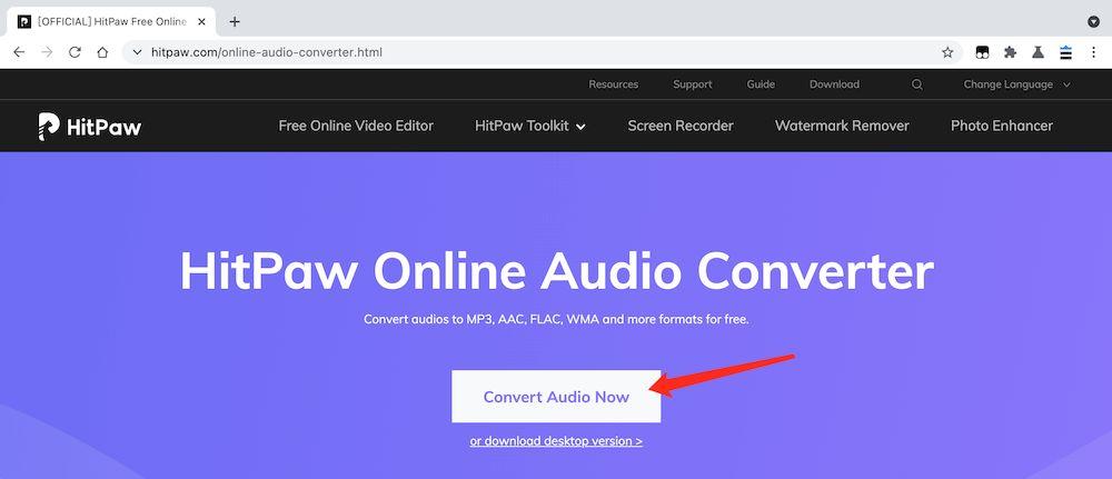HitPawOnlineAudioConverter MP3轉檔教學 - 訪問官網