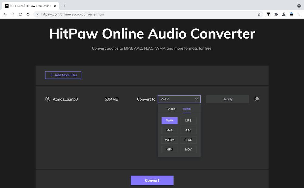 HitPawOnlineAudioConverter MP3轉檔教學 - 設定格式