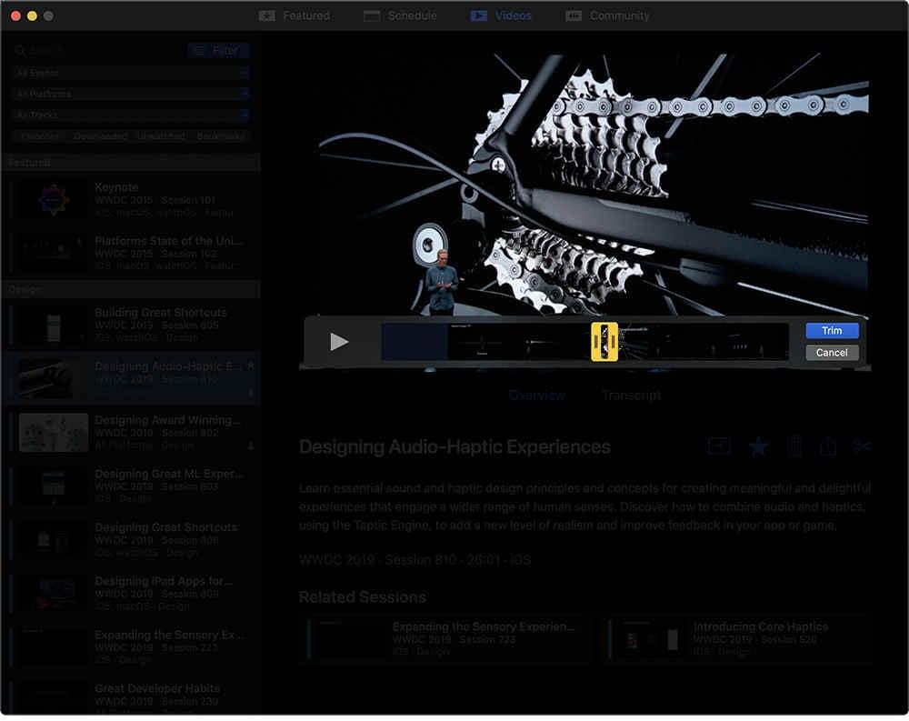 WWDC for Mac - 視頻剪輯分享