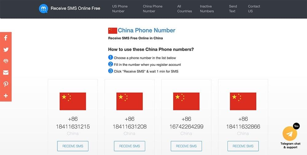 中国大陆手机号码验证代收简讯网站推荐- USA-Phone-Number