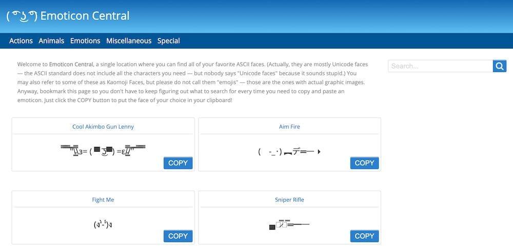 9個免費在線顏文字庫 - emoticoncentral