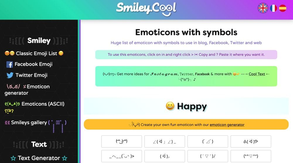 9個免費在線顏文字庫 - smiley