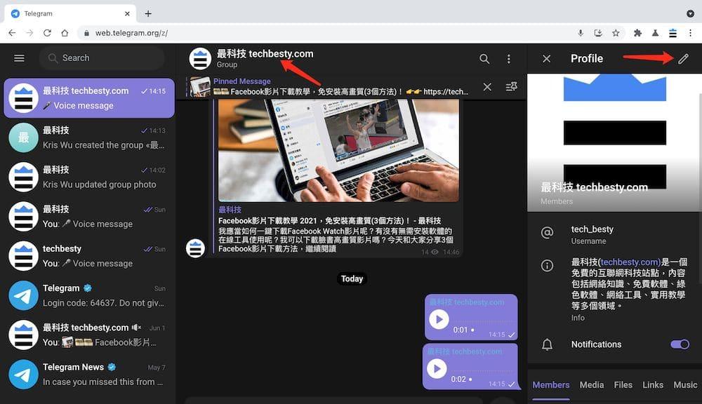 Telegram群組 Web教學 - 查看群組資訊