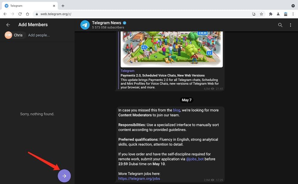 Telegram群組 Web教學 - 添加群組成員