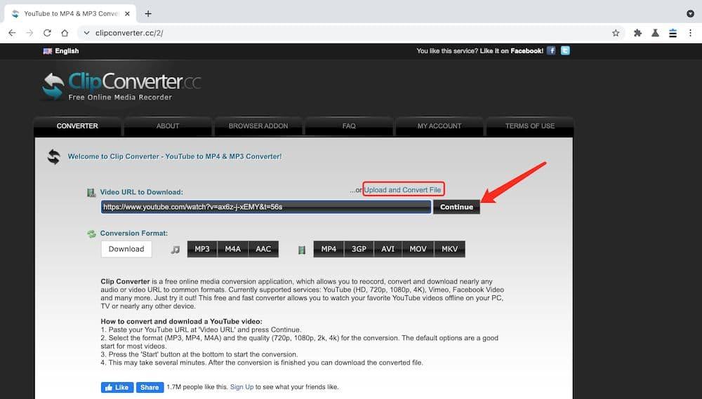 ClipConverter YouTube MP4 下載教學 - 張貼連結