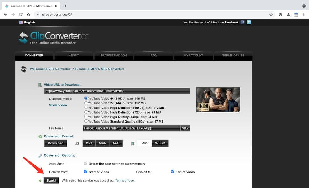 ClipConverter YouTube MP4 下載教學 - 設定轉檔格式
