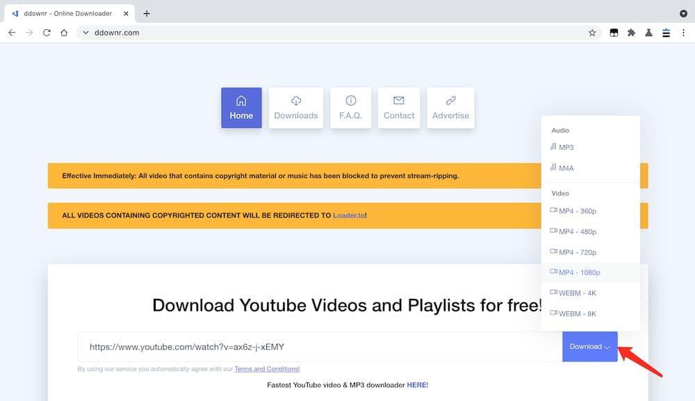Ddownr YouTube 轉 MP4 教學 - 張貼連結設定格式