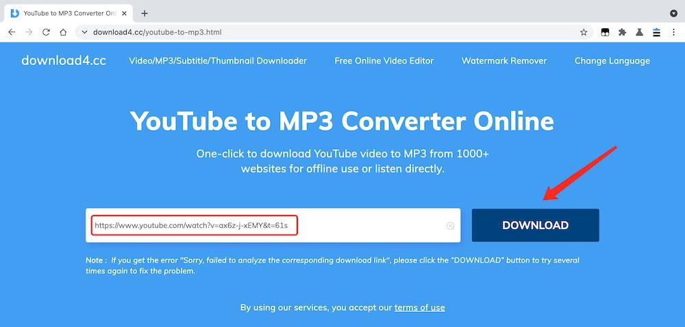 Download4 YouTube 轉 MP3 教學 - 張貼連結
