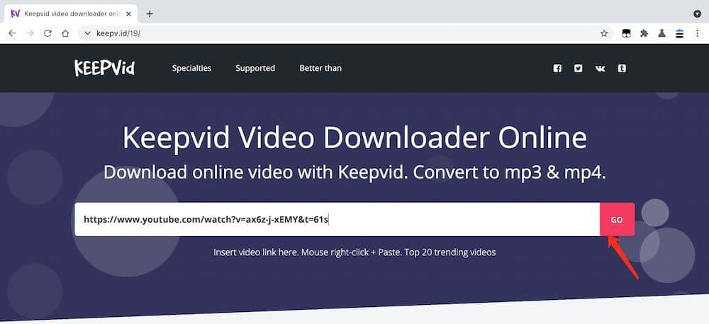 Keepvid YouTube to MP4 教學 - 張貼連結