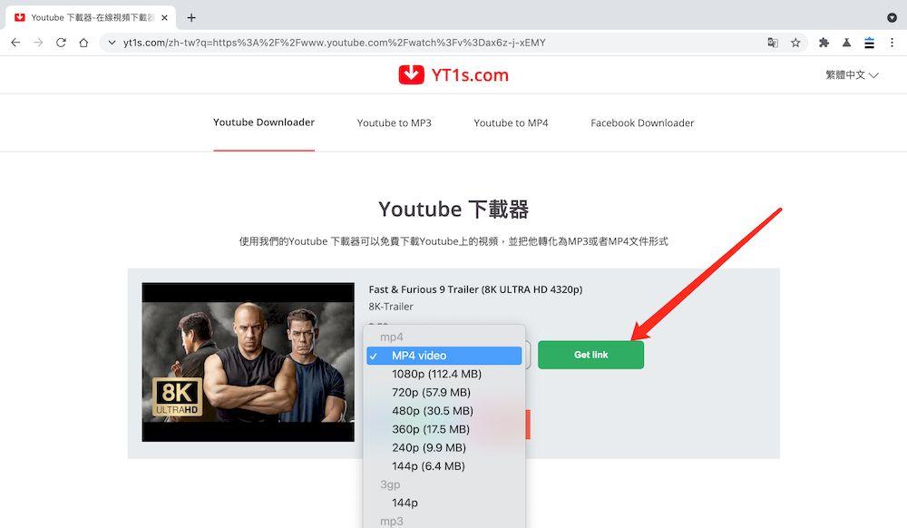 Yt1s YouTube下載MP4教學 - 選擇影音檔格式