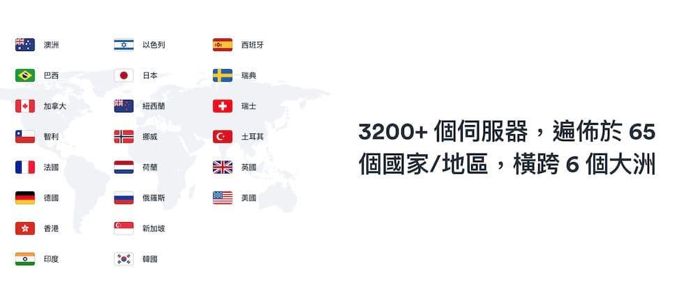 Surfshark VPN 評價 - 全球伺服器分佈